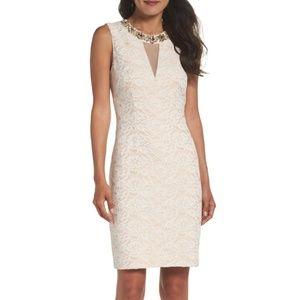 ELIZA J EMBELLISHED LACE SHEATH IVORY DRESS 8